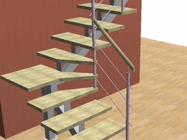 лестница на центральном косоуре с ограждением из нержавеющей стали и деревянным поручнем круглого сечения