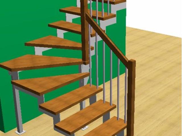 Лестница с косоурами из стали толщиной 10 мм с треугольными ступенями и стандартным ограждением Вариант 1 – опорный столб 60 Х 60 мм под ступенькой