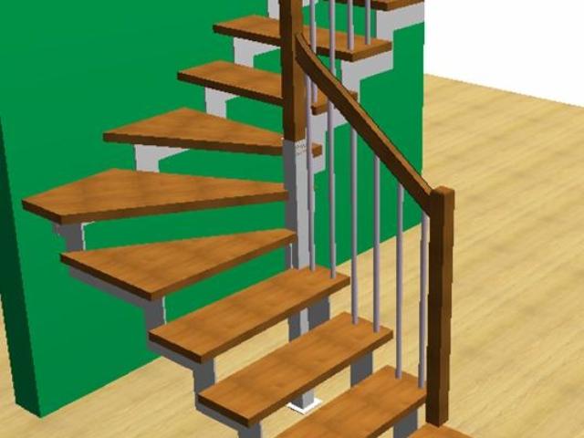 Лестница с косоурами из стали толщиной 10 мм с треугольными ступенями и стандартным ограждением Вариант 2 опорный столб 80 Х 80 мм под столбом ограждения