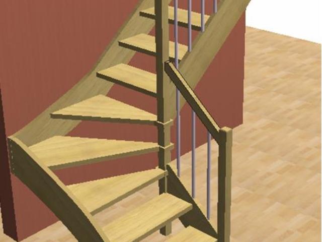 Лестница на тетивах с треугольными ступенями , составным столбом и балясинами из хромированной трубкой