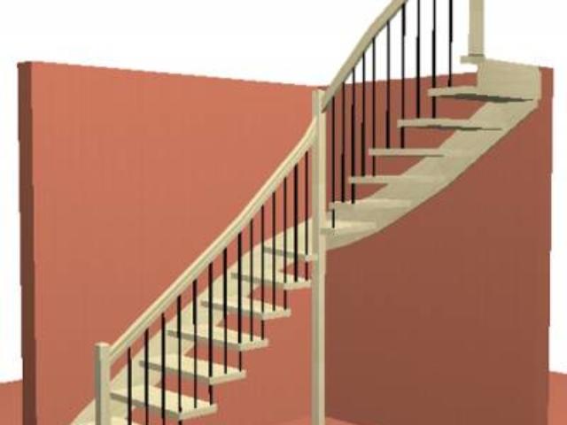 Лестница на Больцах с металлическими крашеными балясинами