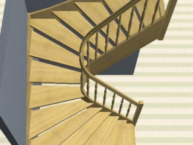 Лестница с поворотом на 180° с 3D элементами