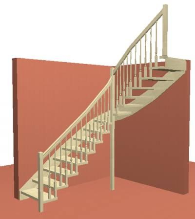 Лестница на Больцах с деревянными балясинами