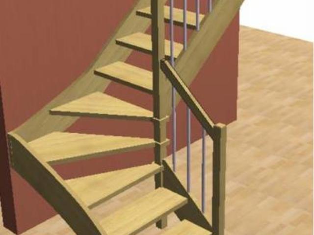 Лестница на тетивах с треугольными ступенями составным столбом и стандартным ограждением.