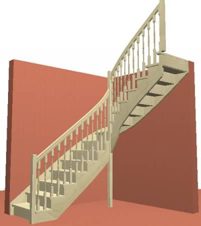 Лестница на косоуре с пристенной тетивой с подступенками