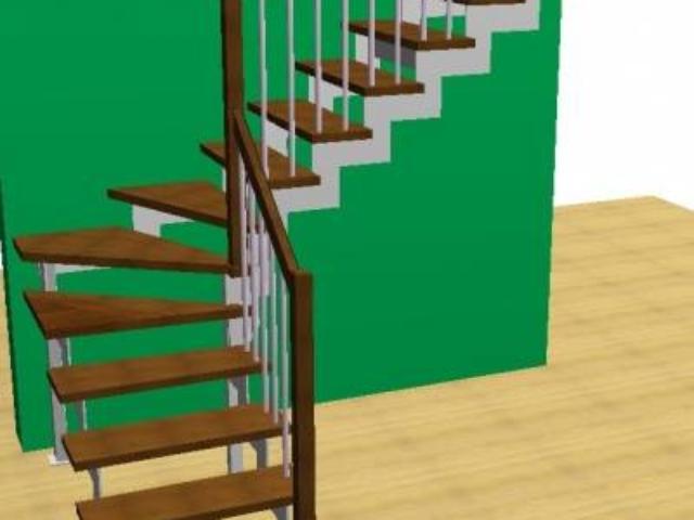 Лестница на металлических косоурах выполненных из листовой стали толщиной 10 мм с хромированными балясинами